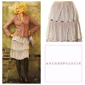 Anthropologie Odille Fern Ivory Lace Tiered Skirt